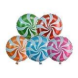 AnnoDeel 10 PCS 18 Inch Round Candy Lollipop Aluminum Film Balloon Camouflage Cartoon Toy Birthday Party Decoration