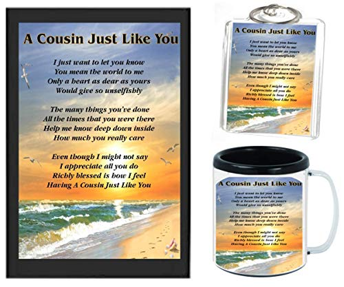 A COUSIN JUST LIKE YOU POEM | JUST IN TIME FOR CHRISTMAS GIFT | 11OZ BLACK | COFFEE CUP & PHOTO KEYCHAIN ARTWORK MUG BUNDLE