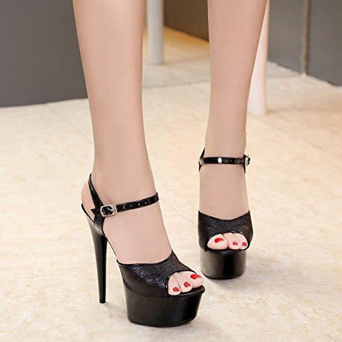Schuhe Hochzeit Schuhe Lin Die Heel Mit Neue Sandalen Zentimeter High Silber Hoch Schwarz Cm Sandalen Nachtszene Xing Damen 15 a8qdxBwTB