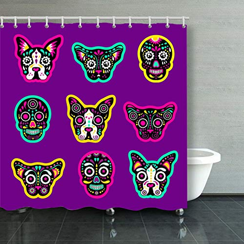 DWone Hat Shower Curtain Fashion Patch Badges Sugar Skull Dog Abstract Dog Abstract Backgrounds Textures Dog Backgrounds Textures Decorative Bathroom Curtains Colourful 6072inch -