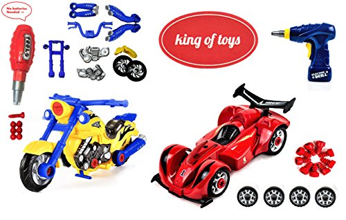 King Of Toys World Racing Motorcycle & car Toy for Kids with 47 Take Apart Pieces, Power Drill, Lights and Sounds, Special KIDS SAFE Storage Bag to protect from losing pieces included