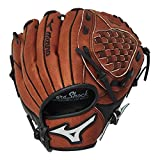 "Mizuno Prospect Baseball Glove, Chestnut, Youth/Kids, 10"", Worn on left hand"