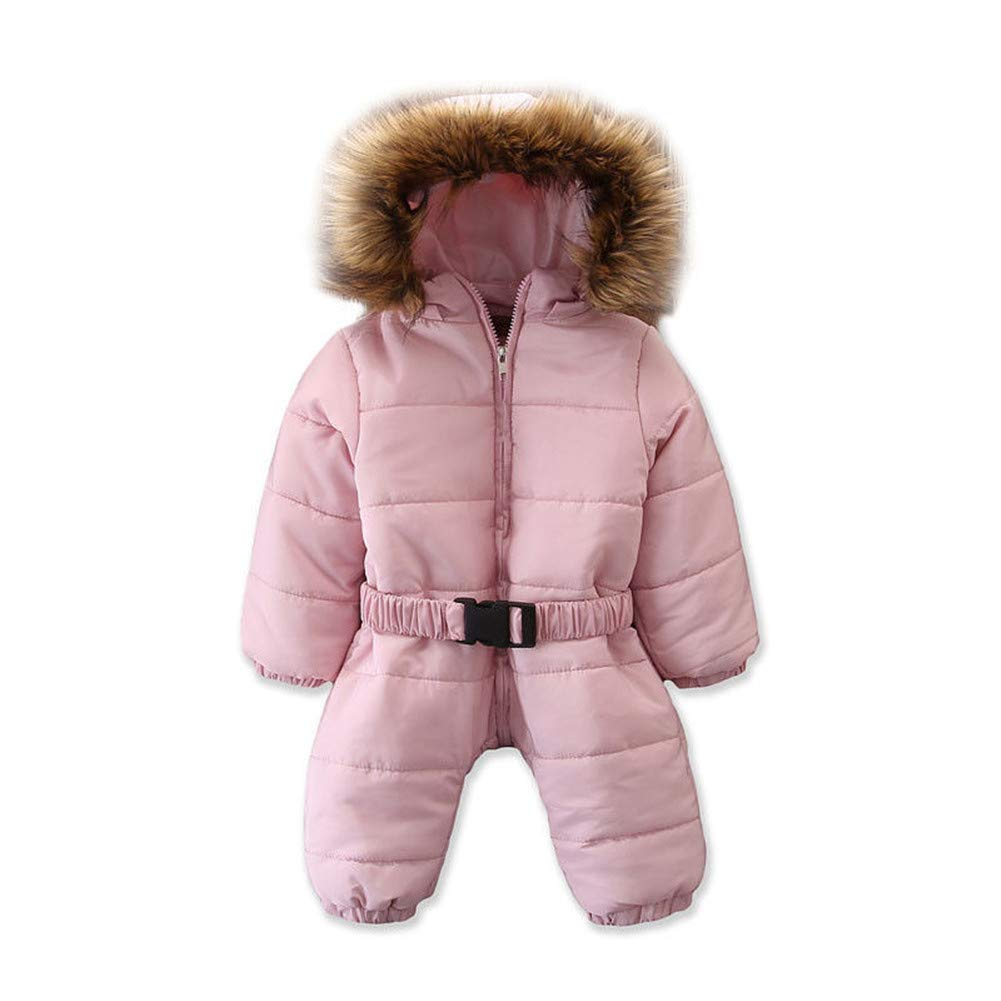 Zoiuytrg Toddler Baby Boy Girl Winter Outfits Kid Long Sleeve Warm Romper Jumpsuit Hooded Snow Wear Jacket Coat Clothes
