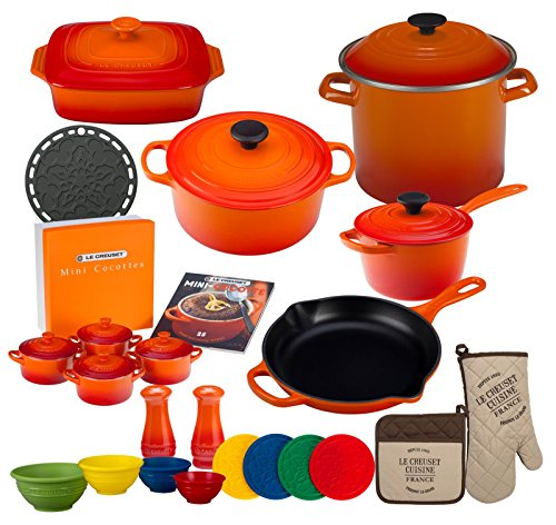 Le Creuset 27-piece Signature Cookware Set (Flame) for sale  Delivered anywhere in USA