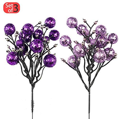 KI Store Christmas Berry Picks Decorations Artificial Glittered Berries Stems Crafts Tree Decoration Ornaments for Xmas Tree Wedding Centerpiece Pack of 6 (Purple)