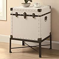 1PerfectChoice Modern Accent Cabinet Trunk-style Side End Table Storage Nail Head Trim, White