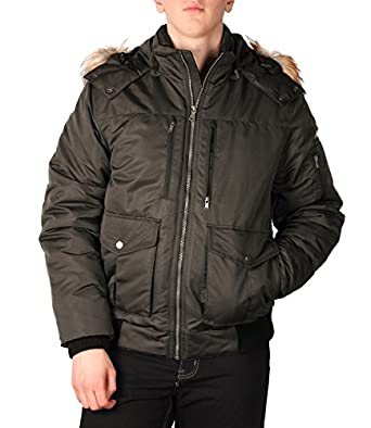 Sean John Men's Hooded Bomber Jacket with Faux Fur Trim at Amazon ...