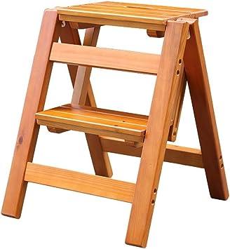 Escalera Taburete Escalera plegable con taburete pequeña escalera de madera Escalera plegable de 2 pisos, taburete plegable escalera portátil Taburete con peldaño (Color : Brown): Amazon.es: Bricolaje y herramientas