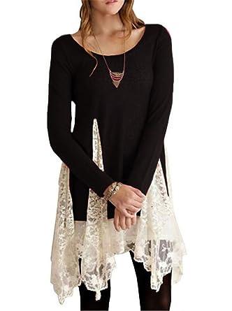 48036c8b445 Black Womens Long Sleeve Lace Cotton Cute Casual Dress T Shirt Blouse Tunic  Top
