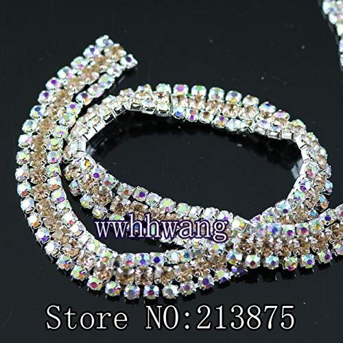 Pukido DIY Fashion 10cm, 3row Colorful +Clear AB Glass Crystal Rhinestone Chain Compact Silver Base Chain Claw Trim Wedding Applique - (Color: 08 Champagne) (08 Champagne)