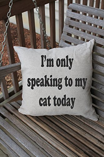 I'm Only Speaking to my Cat Today Pillowcases, Pillow Cushion Cover, Cat Quote, Funny Pet Decor, Pet Pillowcase, Pet Home Decor, 16 x 16 cushion cover