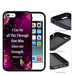 Philippians 4:13 Bible Verse with Floral Pink Purple Magenta Design iPhone 5 5s Rubber Silicone TPU Cell Phone Case