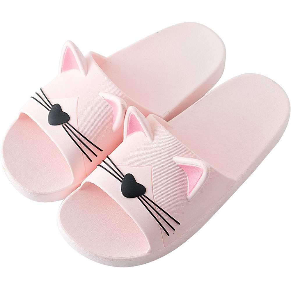 df2cb7ec12ce Amazon.com  Women Shower Slippers Cat Ears Indoor Outdoor Pool Beach Bath  Slides Sandals  Clothing