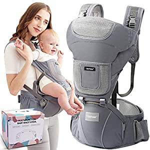 Upchase Porte bébé Ergonomique, Baby Carrier, Multifonctionnel, Multiposition 6 en 1 – Ventral, Dorsal, vue Variable…