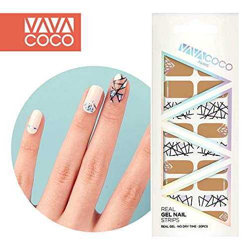 Nail Sticker File - VAVACOCO K-Beauty Korean Real Gel Nail Strips 20pcs Premium Mix Match BrokenGlass, Self Adhesive Full Nails Decals Wraps Stickers For Nail Art with 1pc Nail Files (Desert Sand)