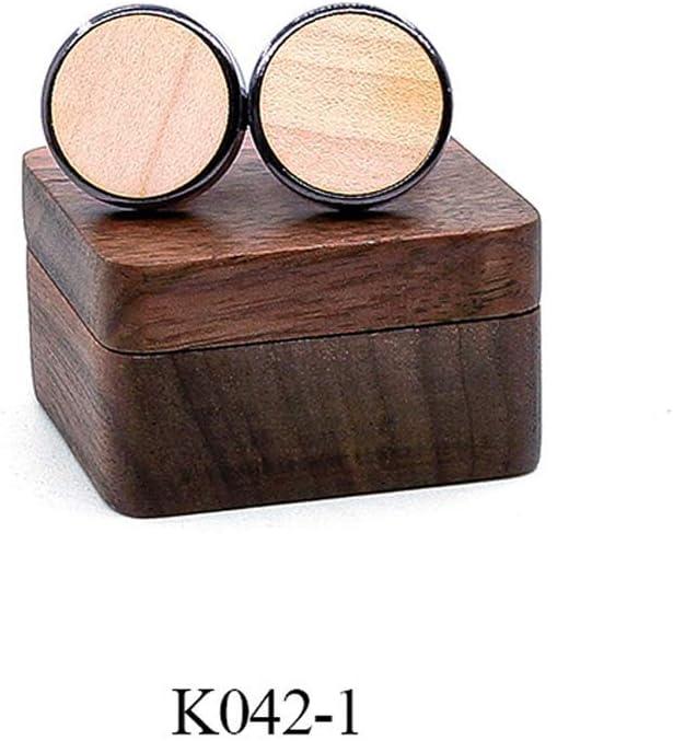 Moda para hombres Nuevos gemelos de madera Hechos a mano naturales Puños de camisa de marca de gama alta hechos a mano Regalo de boda actual del día de San Valentín para hombres, caja de reloj K0422