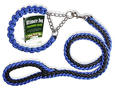 Olivery Heavy Duty Dog Martingale Braided Collar with Solid Hand Made Leash - Ideal for Agility Obedience Behavior Training and Everyday Walk - Free Ebook