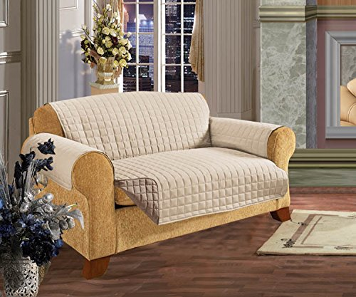 Elegant Comfort QUILTED FURNITURE PROTECTOR for Pet Dog Children Kids -2 TIES TO STOP SLIPPING OFF Treatment Microfiber As soft as Egyptian Cotton Cream/Taupe Love Seat