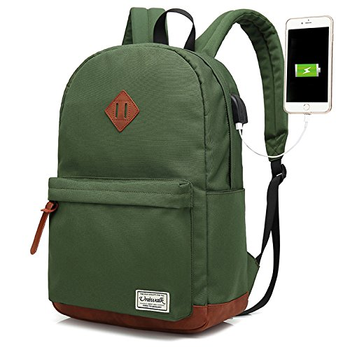 Dark Green Music Box - Laptop Backpack, Waterproof School Backpack With USB Charging Port For Men Women, Lightweight Anti-theft Travel Daypack College Student Rucksack Fits 14-inch Computer - Green
