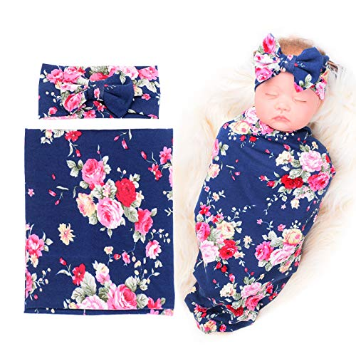 BQUBO Newborn Baby Receiving Blankets Newborn Baby Floral Swaddling with Headbands or Hats Infant Sleepsack