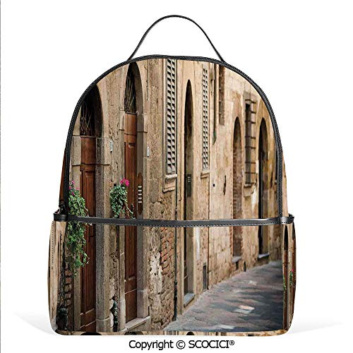 Lightweight Chic Bookbag Street Wine Old Antcient House in Italy Tuscany on a Street with Floral Details,Multicolor,Satchel Travel Bag Daypack