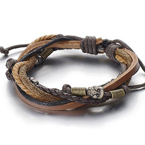 Skulls Multi-strand Brown Leather Bracelet for Men Women Tribal Leather Wristband Wrap Bracelet (Mens Strand Bracelet)