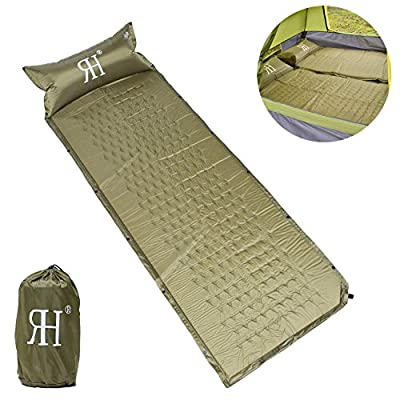 Self-Inflating Sleeping Pad with Attached Pillow,Rainbows Houses Quick Flow Lightweight Sleeping Mad for Backpacking Camping Hiking,Stitching Air Mattress Mat with Pump