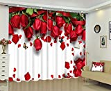 LB Bright Red Roses Scenery View Print 3D Blackout Curtain and Drapes ,2 Panels Polyester Window Treatment Decorative Curtain for Bedroom Living Room,104W x 96L Inches