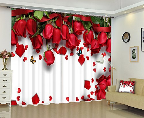 LB Bright Red Roses Scenery View Print 3D Blackout Curtain and Drapes ,2 Panels Polyester Window Treatment Decorative Curtain for Bedroom Living Room,104W x 96L Inches by LB