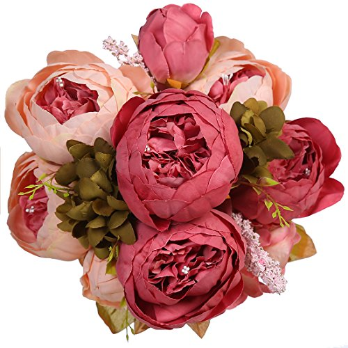 Artificial Vintage Silk Peony Flower,JUSTOYOU Bridal Bouquet Home Office Wedding Decoration (Dark Pink) (Bouquet Peony Rose)