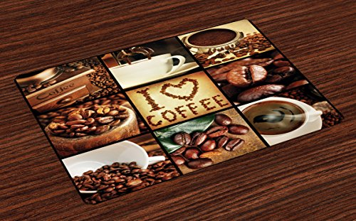 Theme Placemats (Brown Place Mats Set of 4 by Lunarable, I Love Coffee Theme Collage Roasted Beans Brewing Machines and Cups Aromatic Drink, Washable Placemats for Dining Room Kitchen Table Decoration, Brown White)