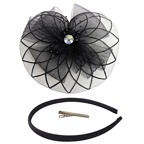 [Fascinator Hair Clip Head Hoop Feather Rose Flower Derby Cocktail Party Wedding Women Black 6] (1920s Flapper Hairstyles)