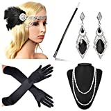 Beelittle 1920s Accessories Headband Earrings Necklace Gloves Cigarette Holder (F6)