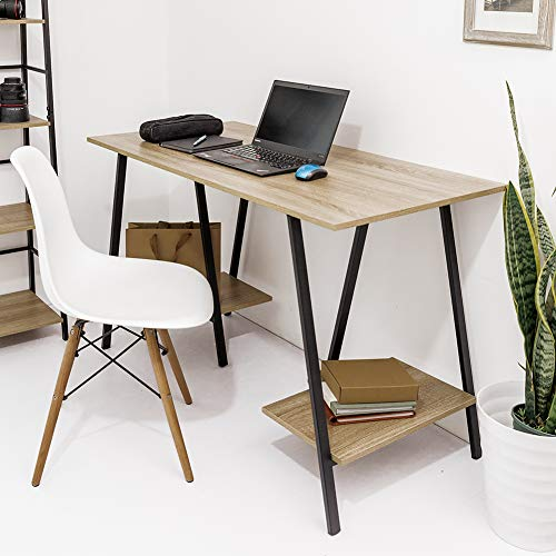 C-Hopetree Computer Desk Student Writing Study PC Laptop Office Table Craft Workstation with Storage Shelves, Industrial Wood Look, Metal Trestle Frame