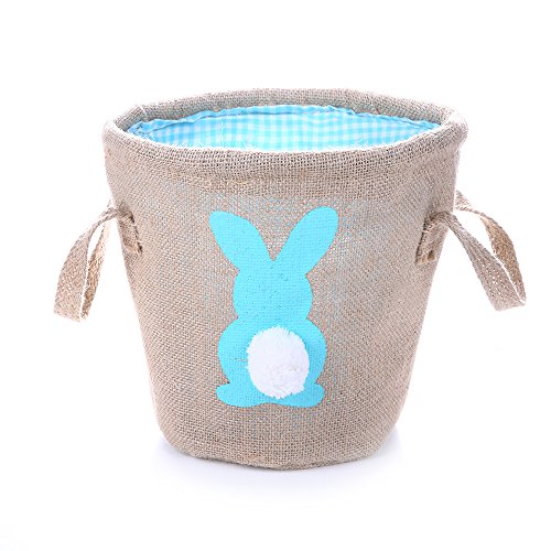 Easter Egg Basket for kids Bunny Burlap Bag to Carry Eggs Candy and Gifts (bunny blue) (Bunny Easter Basket)