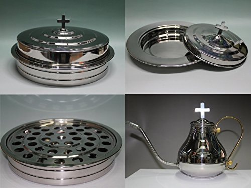 Silvertone  Stainless Steel Communion Tray Set With Cup Filler And Bread Tray Set
