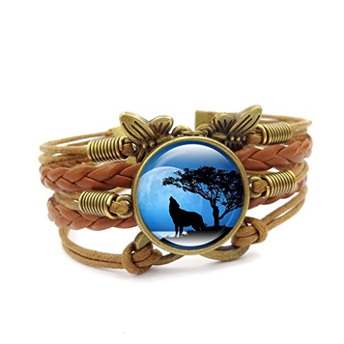 Linsh Handmade Howling Wolf Butterfly Infinity Charms Bracelets Gifts(Color - Ring Bracelet Butterfly