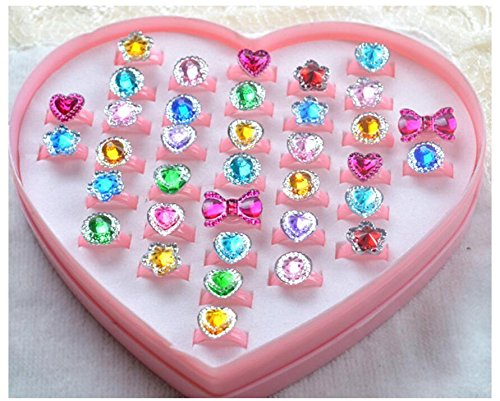 Zhahender Little Girls Accessory Jewellery Toy 36 Pcs/Set Children's Creative Resin Cartoon Ring Jewelry by Zhahender