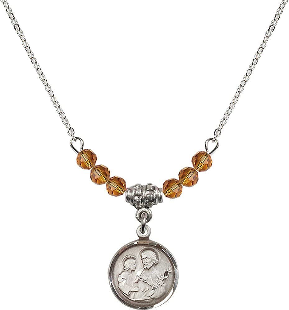 18-Inch Rhodium Plated Necklace with 4mm Topaz Birthstone Beads and Sterling Silver Saint Joseph Charm.