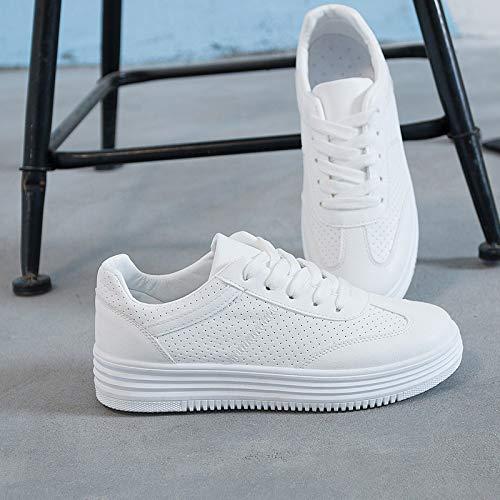 Zapatos pequeños PU de five Jo estándar WFCAYDHN Mujer Zapatos Moda Blancos nbsp;ker Thirty Mujer Código ahuecados Treinta Artificial Transpirable EqYn7U