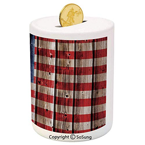 - SoSung 4th of July Decor Ceramic Piggy Bank,Happy National Day Liberty Freedom Democracy Country Patriarchal Graphic 3D Printed Ceramic Coin Bank Money Box for Kids & Adults,Pink Blue
