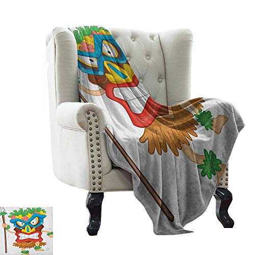 LsWOW Cold Blanket Tiki Bar,Native Man Wearing a Mask Illustration Cartoon Tribal Costume Primitive Ritual, Multicolor for Bed & Couch Sofa Easy Care 60