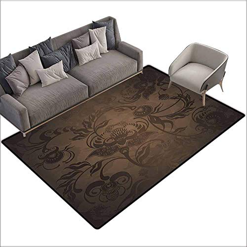 Bathroom Carpet Victorian Decor,Floral Paisley Ivy Design Leaves with Abstract Details Print,Seal Brown Chocolate 36