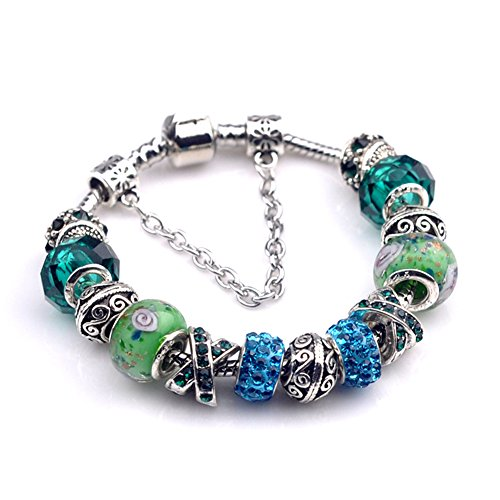 BENNINGCO Ladies Glass Crystal with Diamond Design Bracelet(Green,19CM) (Homemade Baby Butterfly Costume)