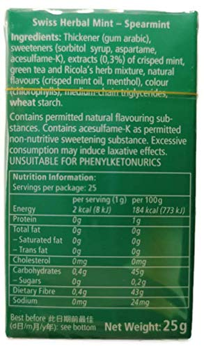 (Pack of 20) Ricola Swiss Herbal Spearmint Sugar Free Mints 25g by Ricola (Image #1)