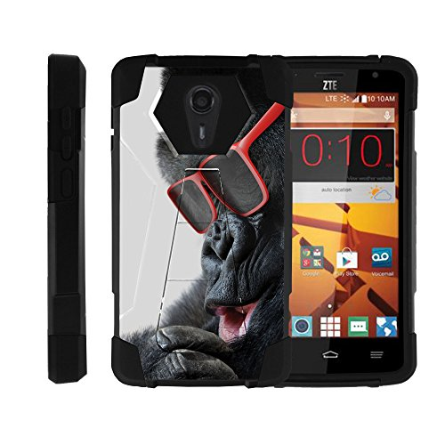 ZTE Quest Case, ZTE Ultra , N817 case , Durable Hybrid FUSION SHOCK Impact Kickstand Case with Silly Animal Designs by Miniturtle - Gorilla with - Quest Sunglasses