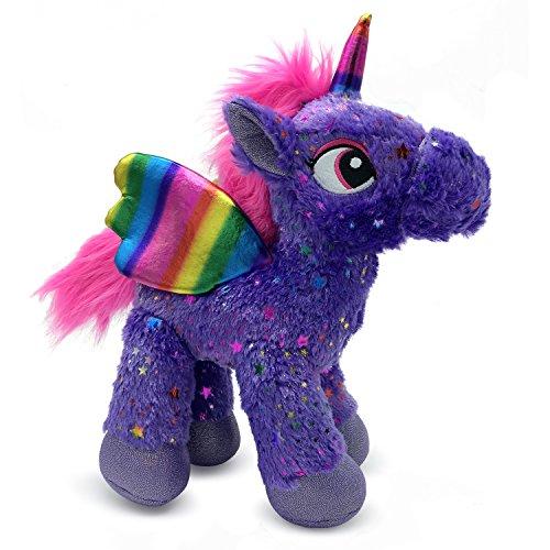 Pegasus Unicorn - LittleFoot Nation Bright & Shiny 13'' Big Plush Sparkle Standing Unicorn Toy, Soft Rainbow Pegasus Alicorn Stuffed Animal with wings for Kids (Purple)