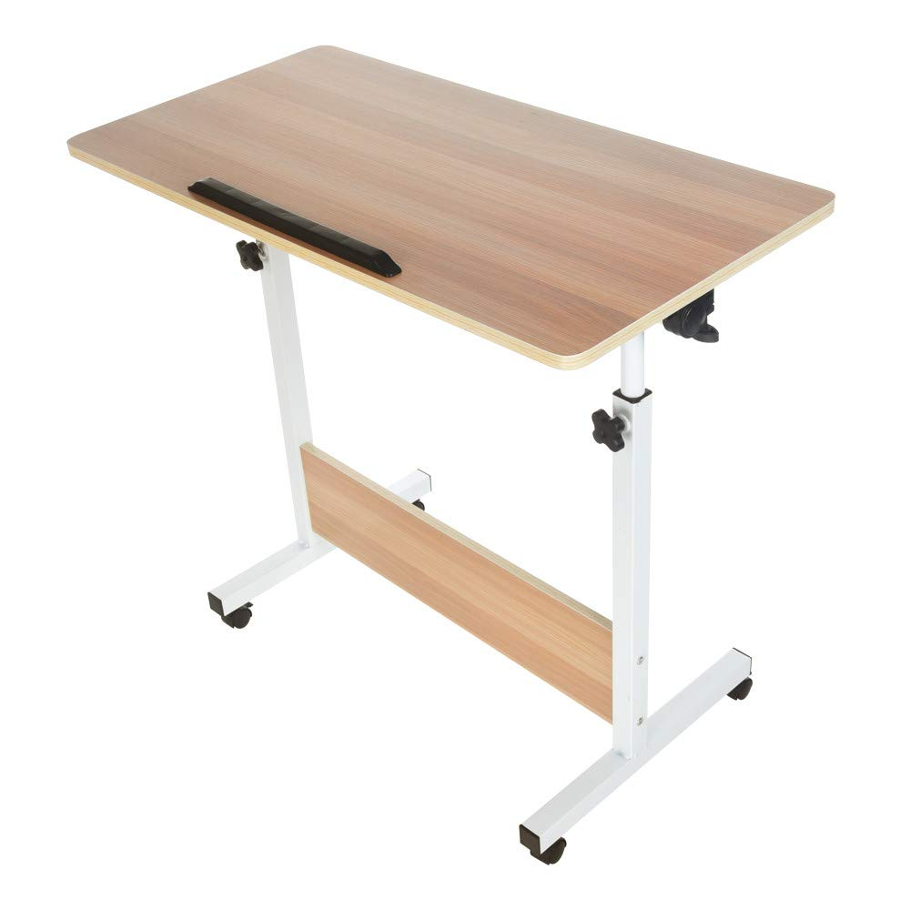 Adjustable Folded Laptop Side Table- Han Shi Wooden Side Table Desk Modern Fully Ergonomic Furniture for Home Office Sofa (6700g, White) by Han Shi-Home
