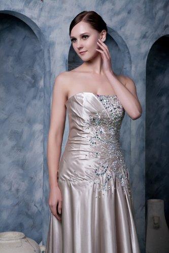 traegerlosen verziert mit Perlen Lange Sekt Elegante Neu BRIDE GEORGE Abendkleid satin qw7EBB