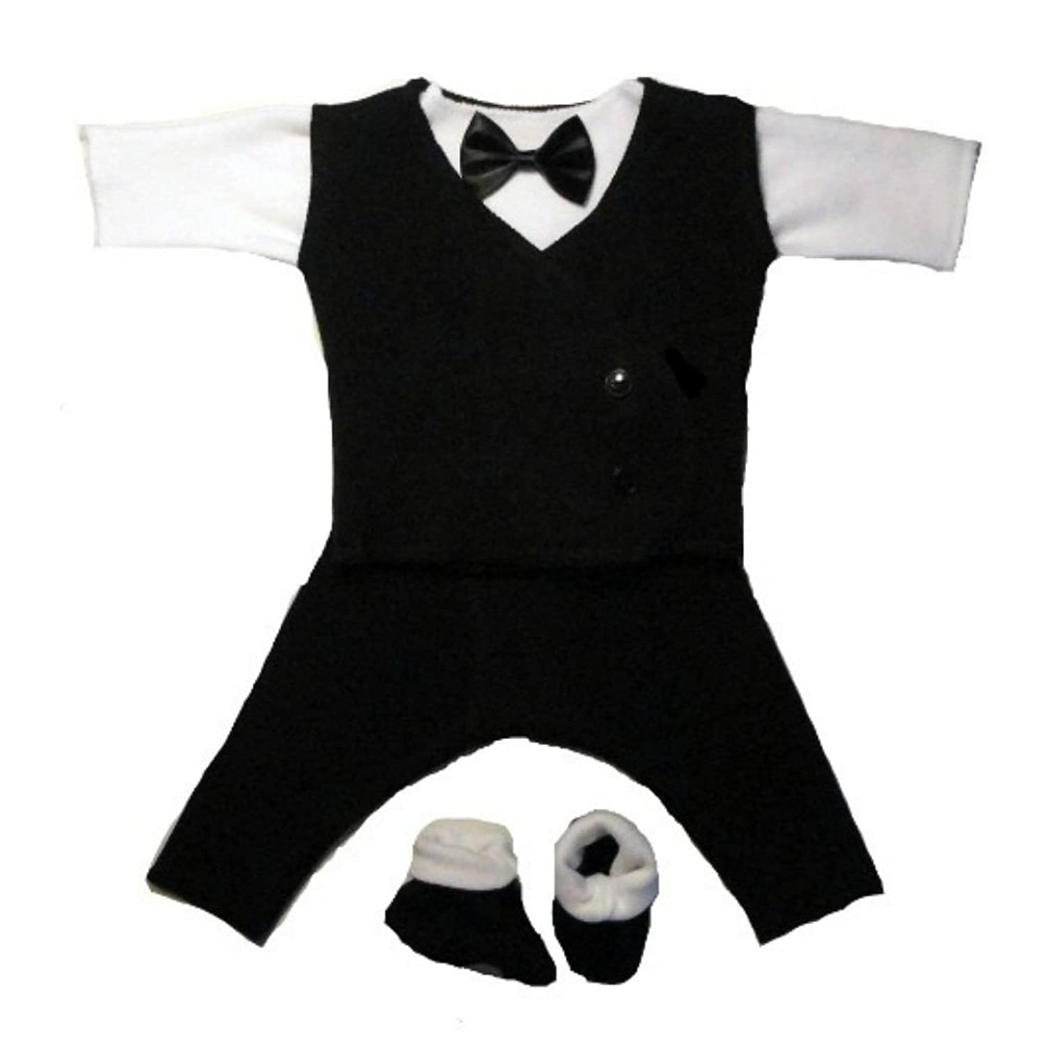 Amazon Jacqui s Baby Boys Black and White Suit with Black Vest